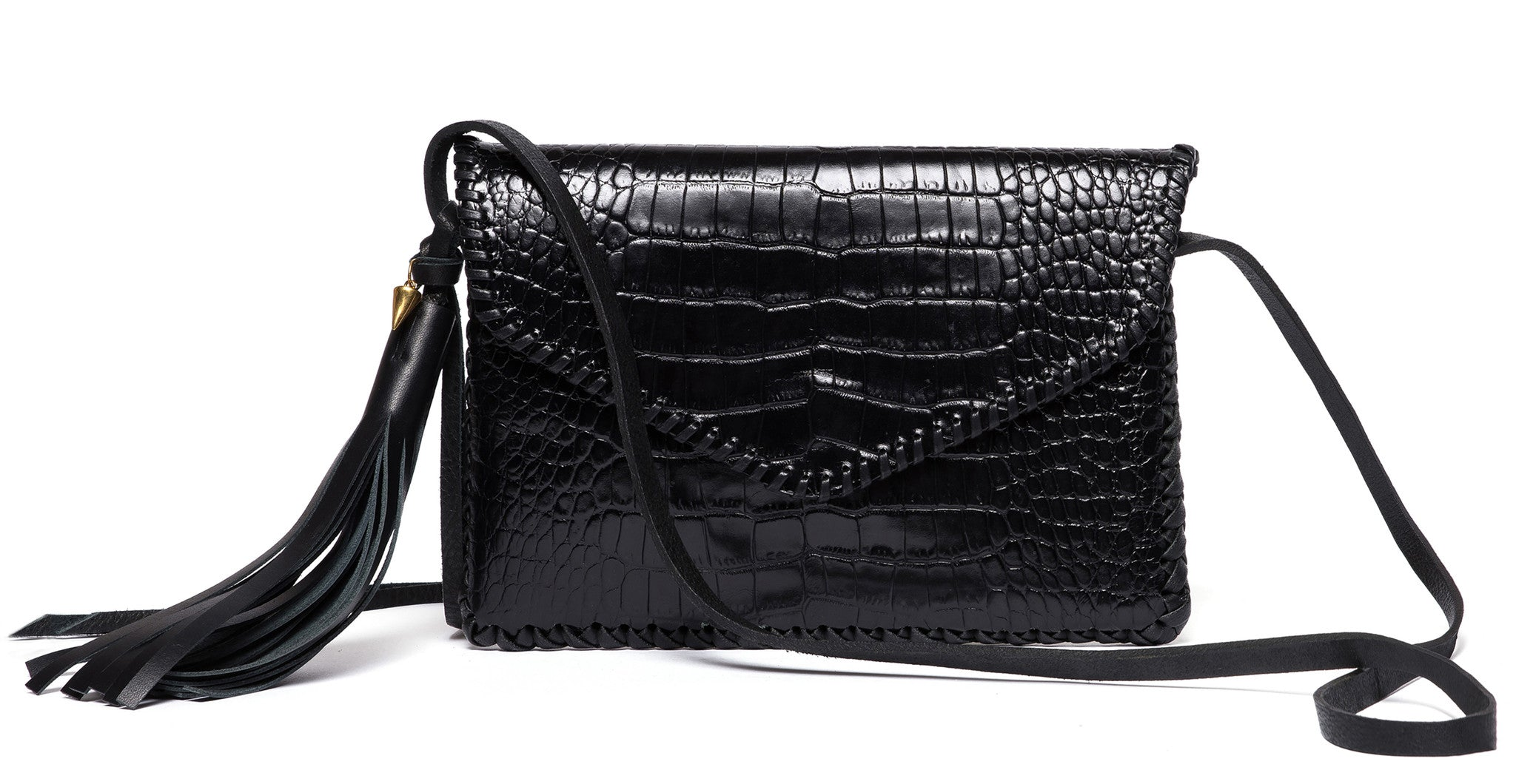 Black Shiny Reflective Embossed Croc Crocodile Alligator Cowhide Leather Whipstitch Edge Envelope Flap Closure Middle Earth Bag Wendy Nichol Luxury Handbag Purse Designer Handmade in NYC New York City outside pocket magnet magnetic closure Cross body strap Fringe Tassel Evening Clutch