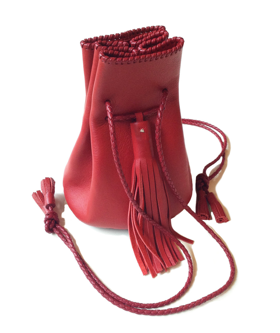 Bright Red Leather Whipstitch Bullet Bag Wendy Nichol Designer Purse Handbag Handmade in NYC New York City Leather Fringe Tassel Drawstring Bucket Pouch Boho Handbag