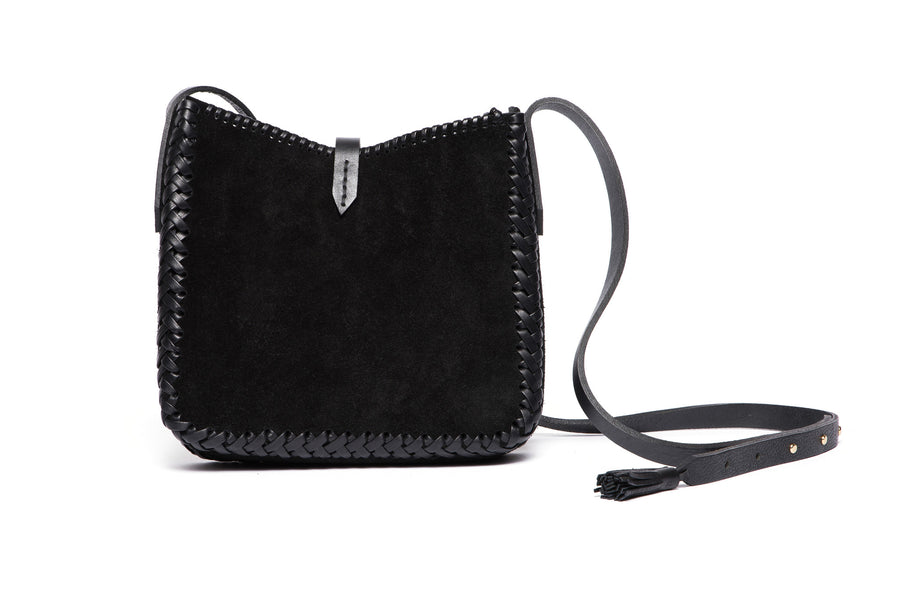 Leather Saddle Bag Wendy Nichol cross body  Handmade Handbag in NYC black suede