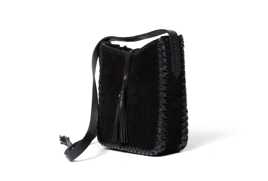 Leather Saddle Bag Wendy Nichol Handbag Purse Designer Handmade in NYC New York City black sued Whipstitch V Edge Open Square Structured Braided Adjustable Strap Fringe Tassels Tassel High Quality Leather