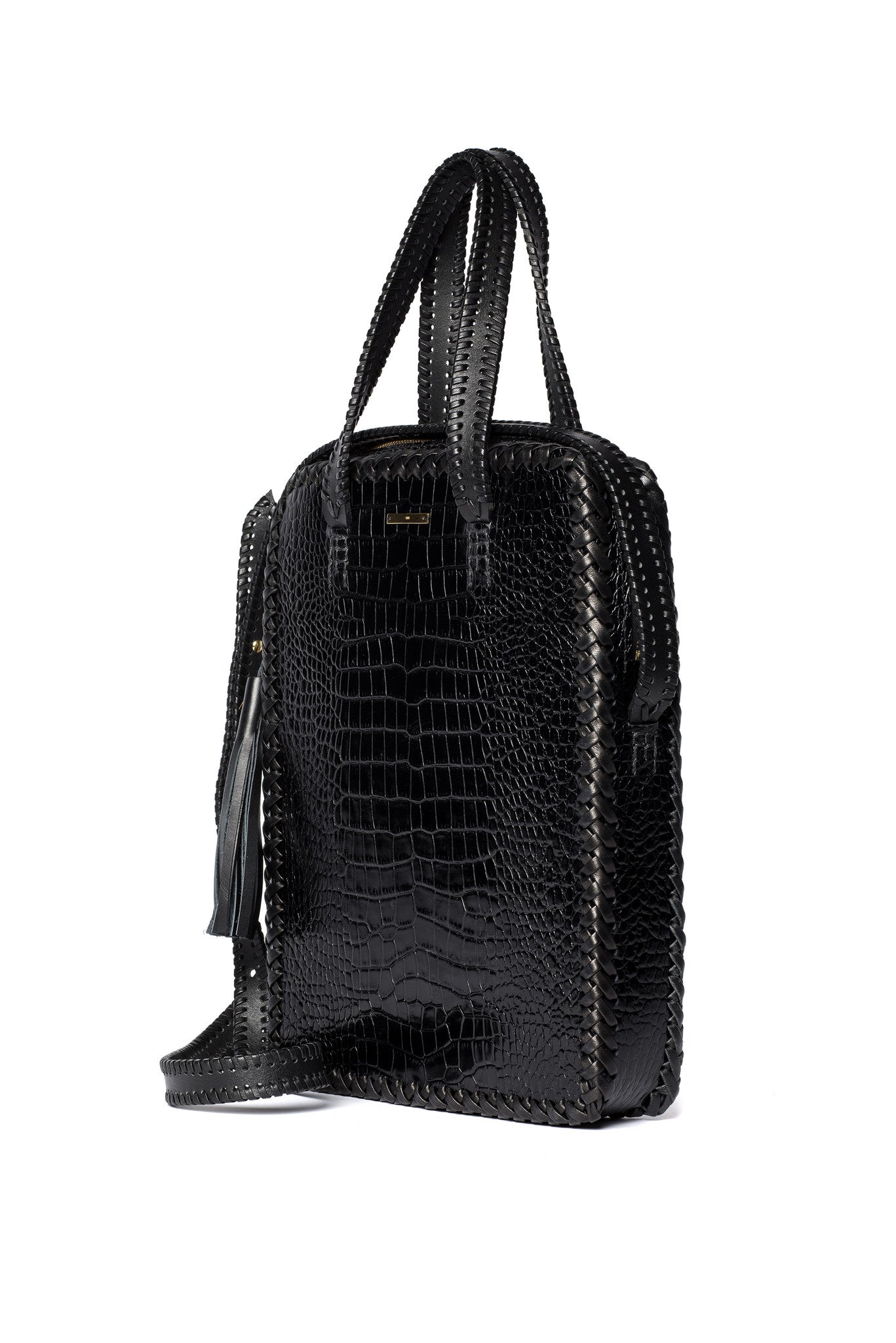 Black Shiny Reflective Embossed Croc Crocodile Alligator Cowhide Leather Vertical Folio Computer Work Briefcase Brief Bag Wendy Nichol Luxury Handbag Purse Designer Handmade in NYC New York City Whipstitch Cross Body Adjustable Strap Zip Zipper fringe Tassel pull durable handles interior pocket High Quality Leather