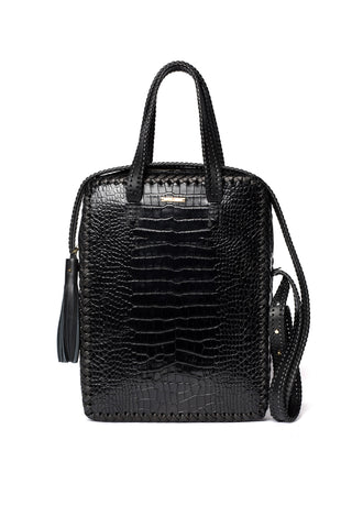 Black Embossed Croc Crocodile Alligator Cowhide Leather Vertical Folio Crossbody Work Briefcase Brief Bag Wendy Nichol Luxury Handbag Purse Designer Handmade in NYC