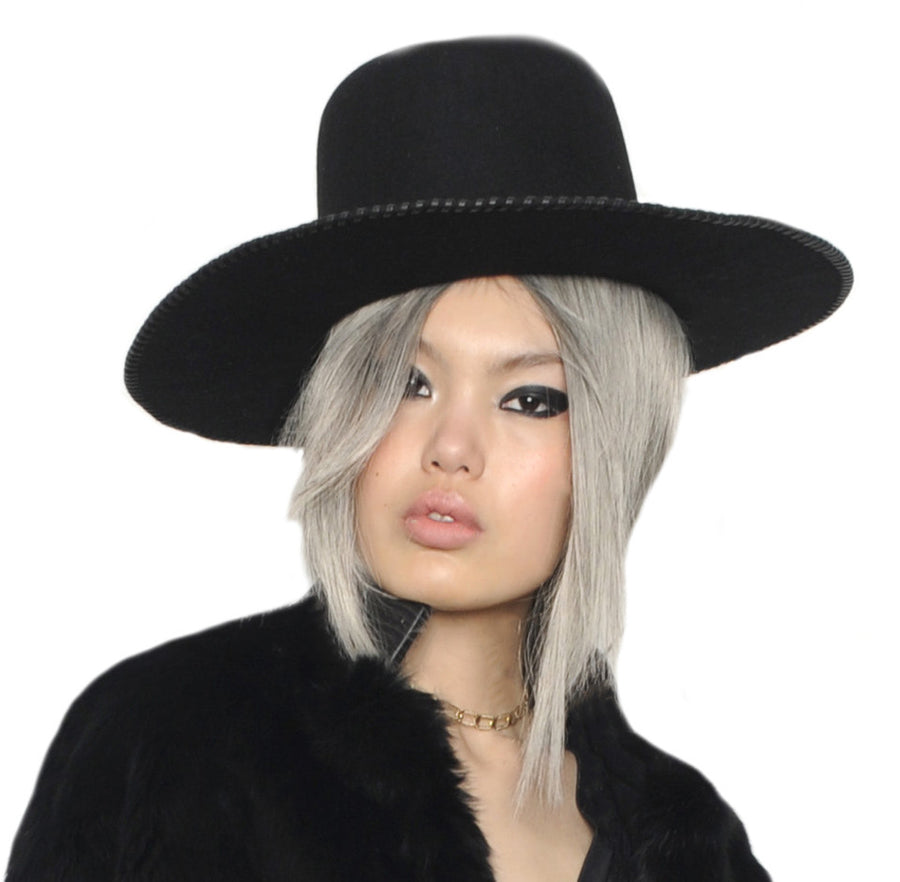 Beaver Felt Wide Brim Leather Whip Whipstitch Wendy Nichol Designer Hat Handmade in NYC New York City Witch Pilgrim Goth Gothic Victorian El Topo High Tall Hat Wide Brim Formation Video Beyonce Black Hat