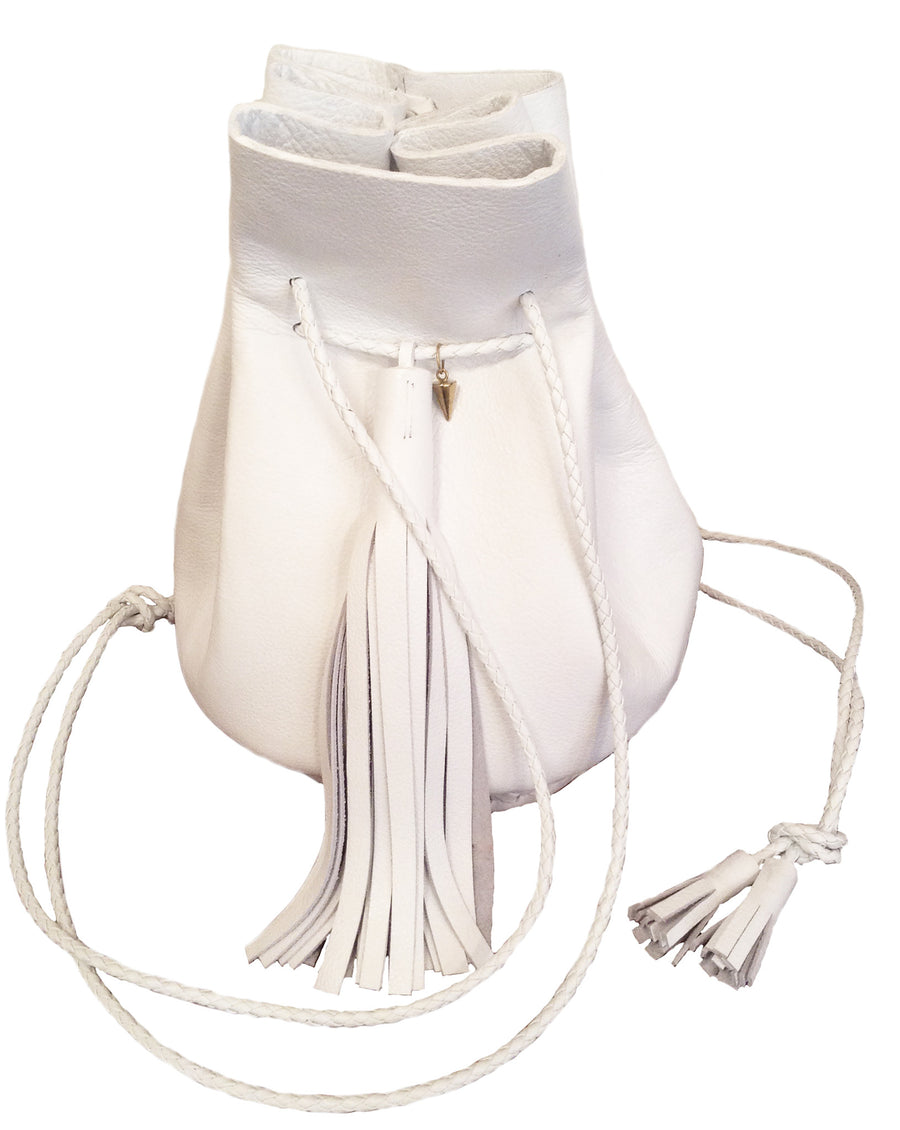 White Leather Signature Classic Bullet Bag Wendy Nichol Handmade in NYC New York City Leather Drawstring Bucket Pouch Purse Handbag Large Fringe Tassel Custom Made to Order