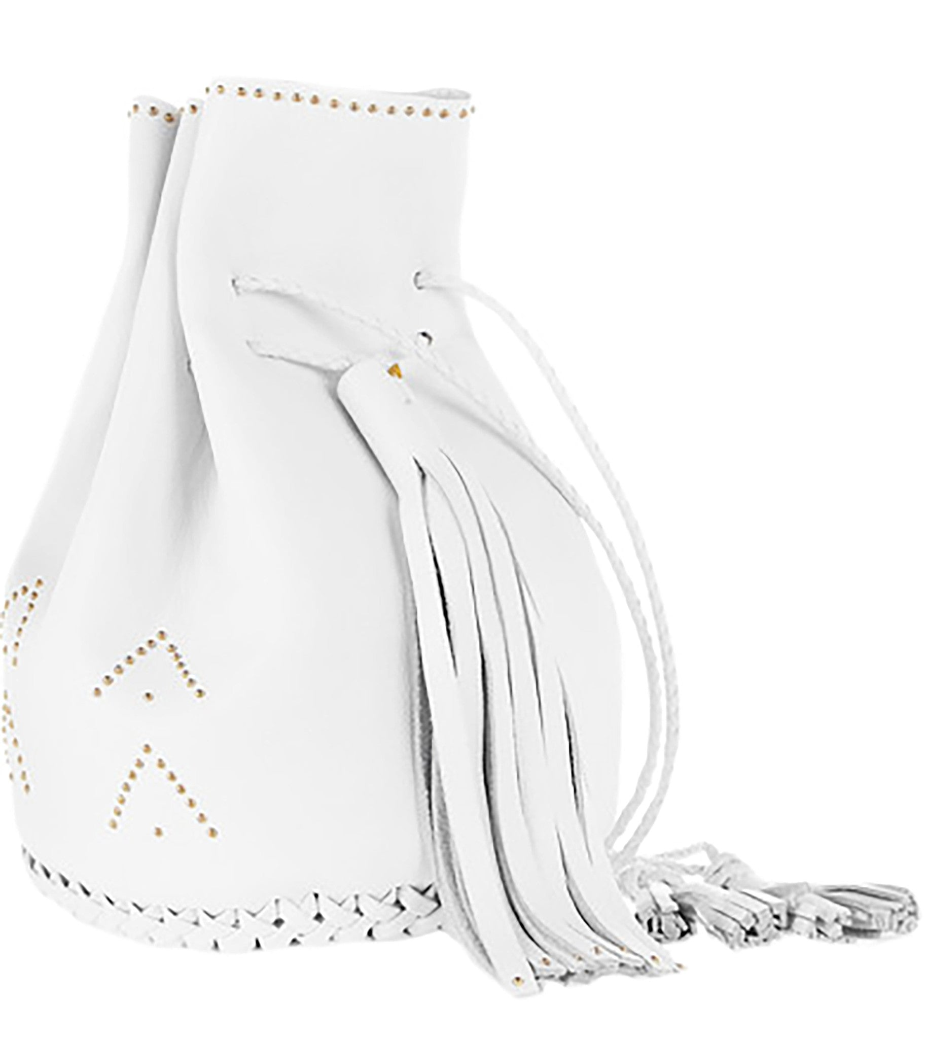 White Hand Studded Studs Stud Chevron Leather Bullet Bag Wendy Nichol Handbag Purse Designer Handmade in NYC New York City Bucket Bag Drawstring Pouch Large Fringe Tassel Net-a-porter