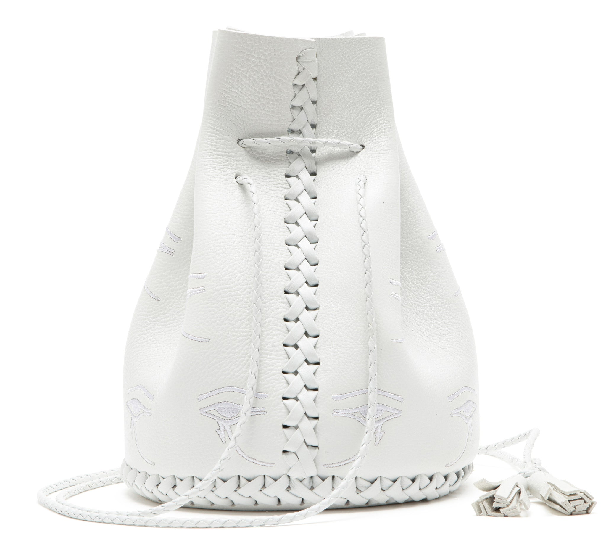 Silver White Embroidered Egyptian Eye of Horus Leather Bullet Bucket Bag Wendy Nichol Handbag Purse Designer Handmade in NYC New York City Bucket Bag Barneys Barney's Madonna Desperately Seeking Susan Evil Eye Eyeballs Drawstring Bucket Pouch Purse Handbag Leather Large Fringe Tassel