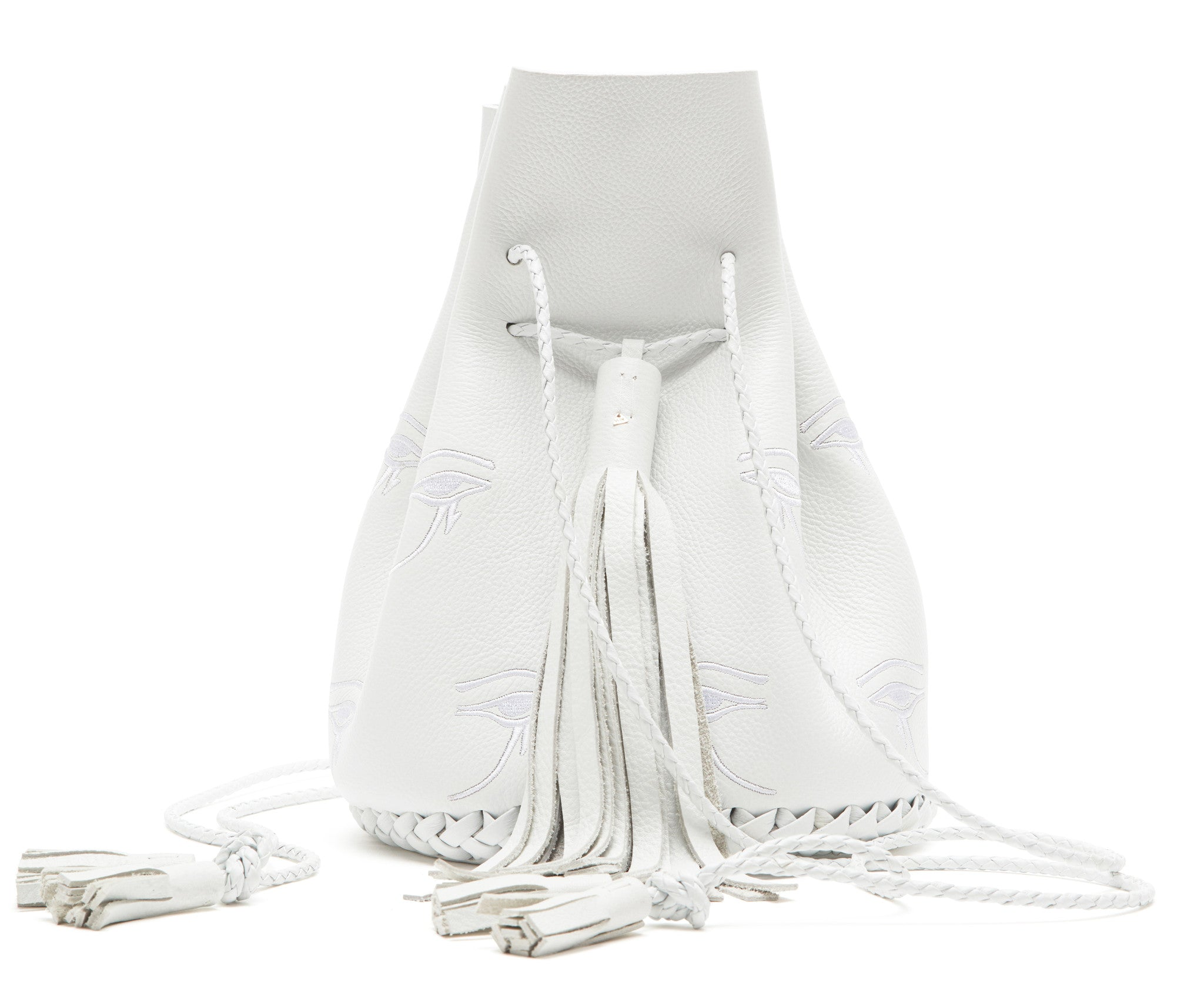 Silver White Embroidered Egyptian Eye of Horus Leather Bullet Bucket Bag Wendy Nichol Handbag Purse Designer Handmade in NYC New York City Bucket Bag Barneys Barney's Madonna Desperately Seeking Susan Evil Eye Eyeballs Drawstring Bucket Pouch Purse Handbag Leather Large Fringe Tassel Summer