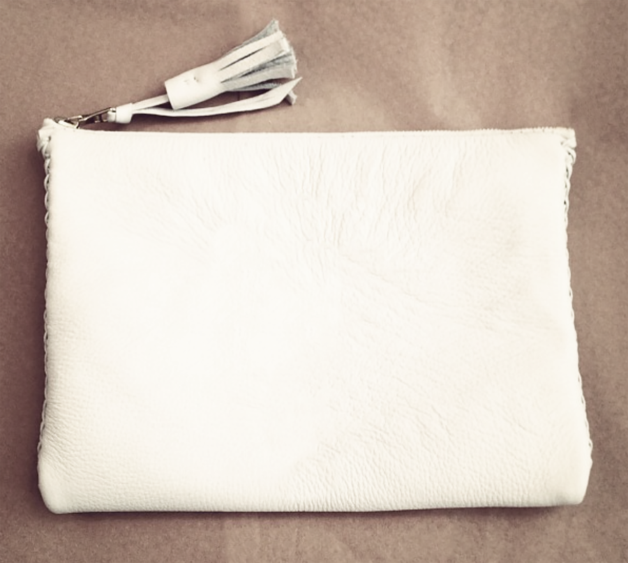 Summer White Leather Braided Pouch Wendy Nichol Luxe Luxury Handbag Wallet Designer Handmade in NYC New York City High Quality Leather Zip Zipper Fringe Tassel Pull Money Credit Card Wallet Pouch Make Up Case Bag Essentials Essential Powder Room Bathroom Tampons Period Pads