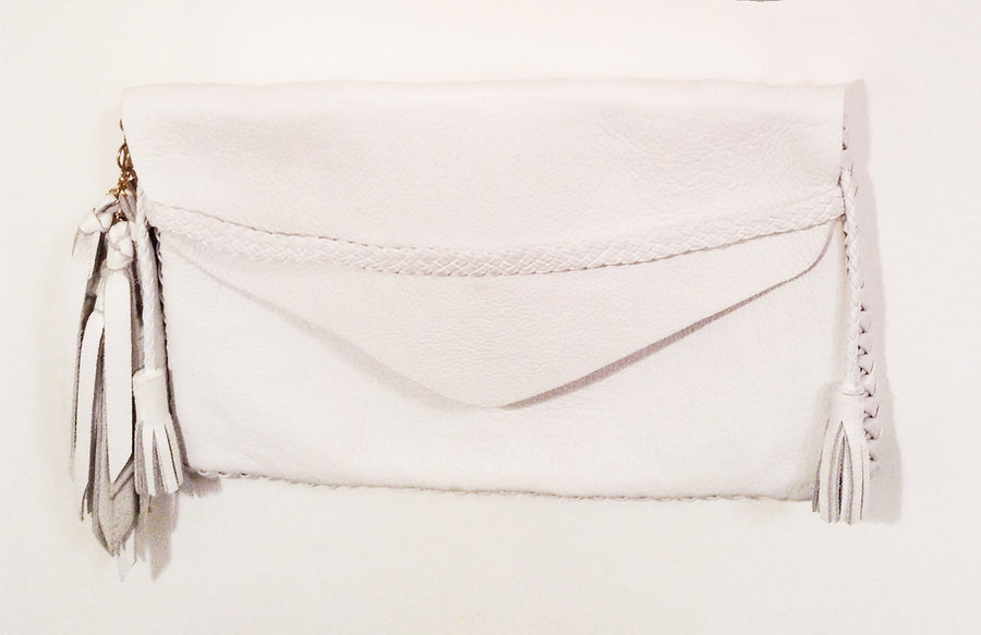 White Midnight Rider Clutch Wendy Nichol Luxury Handbag Purse Designer Handmade in NYC New York City Envelope Flap Closure Braided Pouch Wrist Wristlet Fringe High Quality Leather Evening Clutch Pamela Love Jemima Kirke CFDA Awards