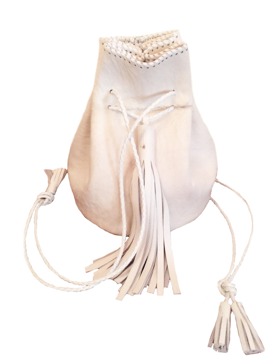 White Pony Cow Fur Leather Whipstitch Bullet Bag Wendy Nichol Handbag Purse Handmade in NYC Bucket Bag Drawstring Pouch Large Fringe Tassel