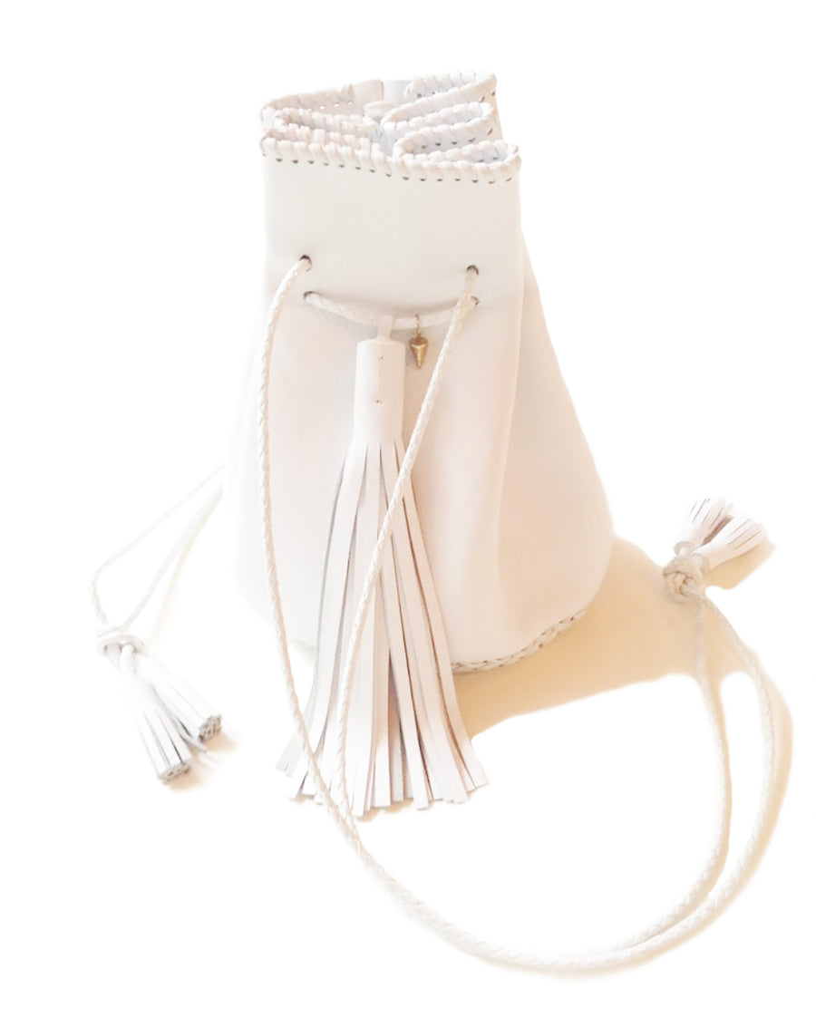 White Leather Whipstitch Bullet Bag Wendy Nichol Designer Purse Handbag Handmade in NYC New York City Leather Fringe Tassel Drawstring Bucket Pouch Boho Handbag Summer