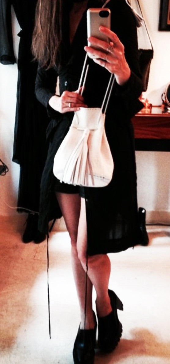 White Pony Cow Fur Leather Whipstitch Bullet Bag Wendy Nichol Handbag Purse Handmade in NYC Bucket Bag