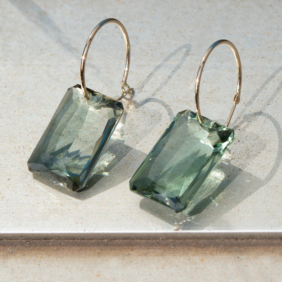 Extra Large Dark Green Emerald Cut Amethyst on Hoop Earring