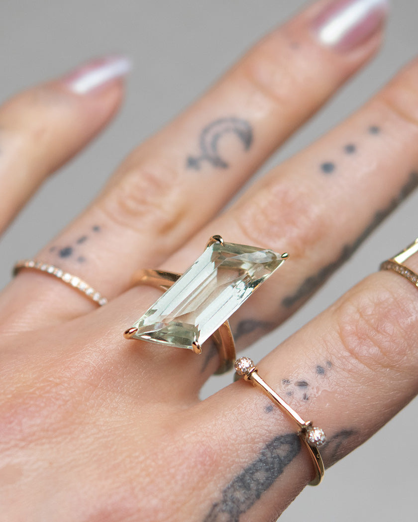 Parallelogram Amethyst Amulet Ring