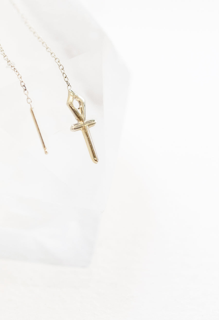 Ankh Chain Pull Thru Single Earring