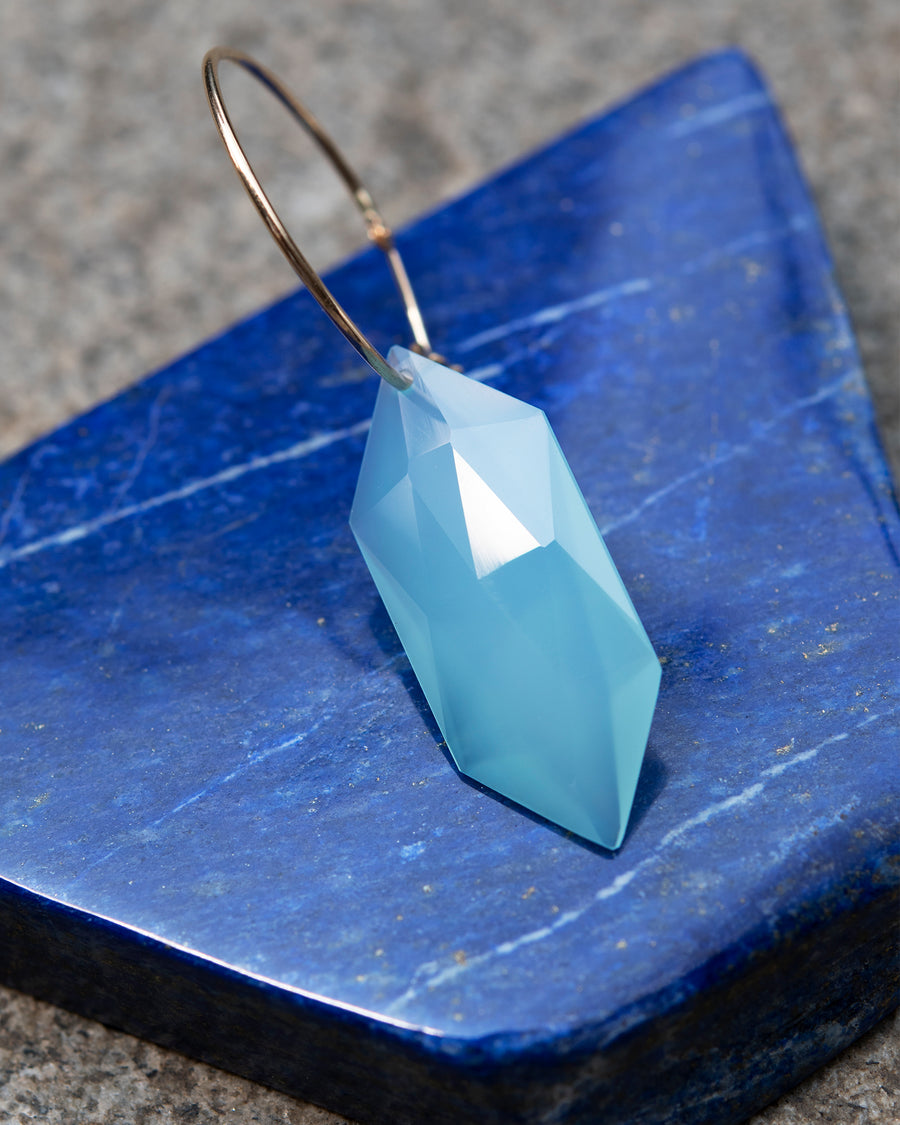 Hexagonal Sea Blue Chalcedony on Hoop Earring