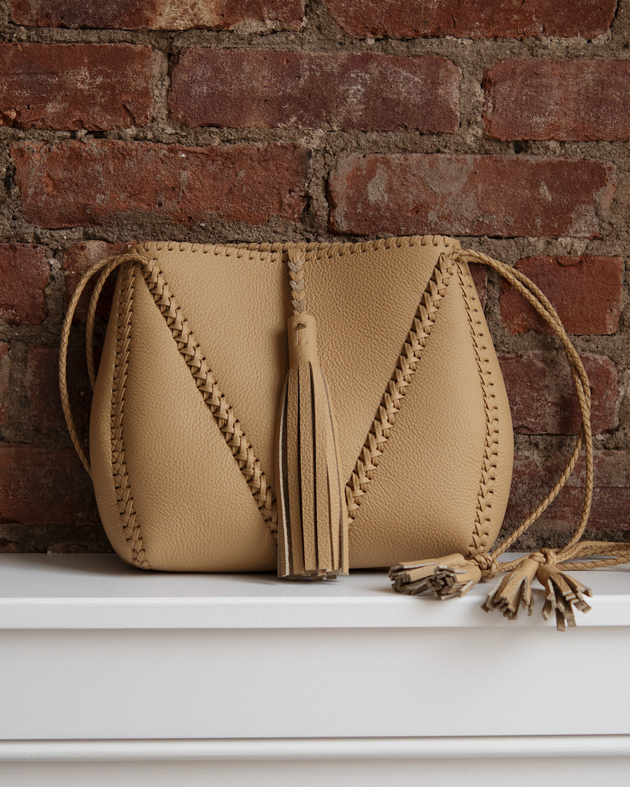 Whipstitch Braided V Bag