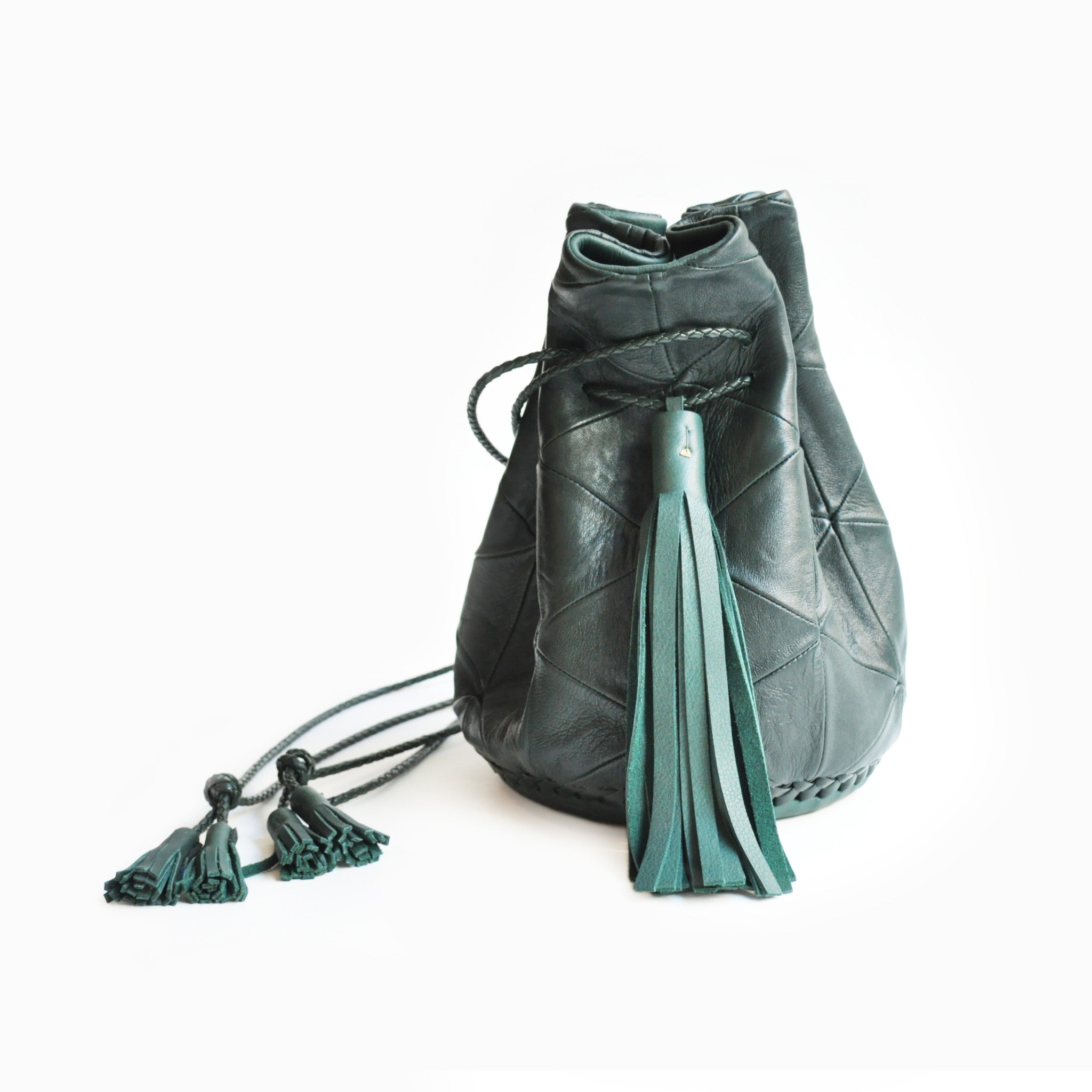 Dark Green Leather Triangle Patchwork Bullet Bag Wendy Nichol Leather Handbag Purse Designer Barneys Barney's Bucket Bag Handmade in NYC New York City High Quality leather Draw String Drawstring Pouch  Large Fringe Tassel Tassels