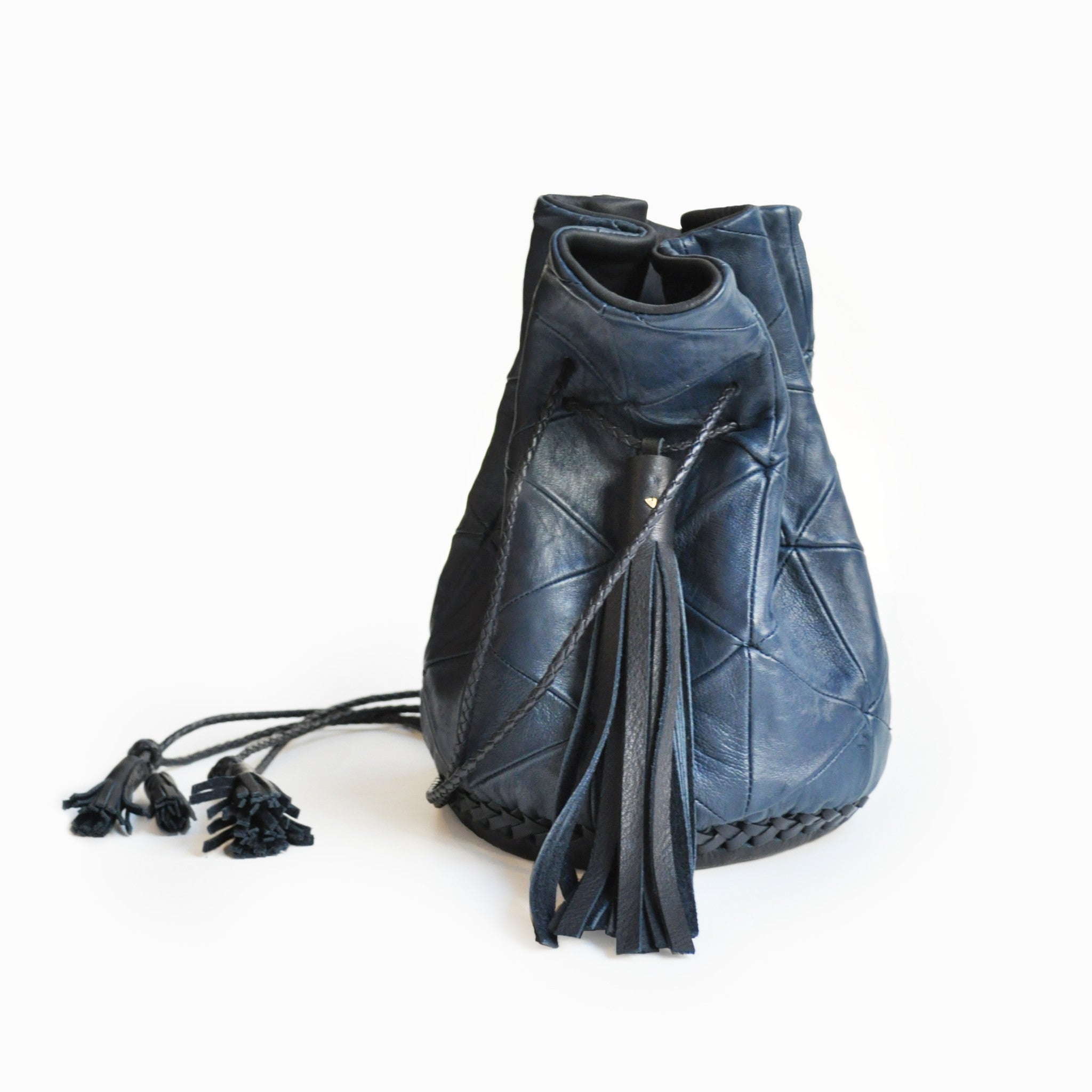 Navy Dark Blue Leather Triangle Patchwork Bullet Bag Wendy Nichol Leather Handbag Purse Designer Barneys Barney's Bucket Bag Handmade in NYC New York City High Quality leather Draw String Drawstring Pouch  Large Fringe Tassel Tassels