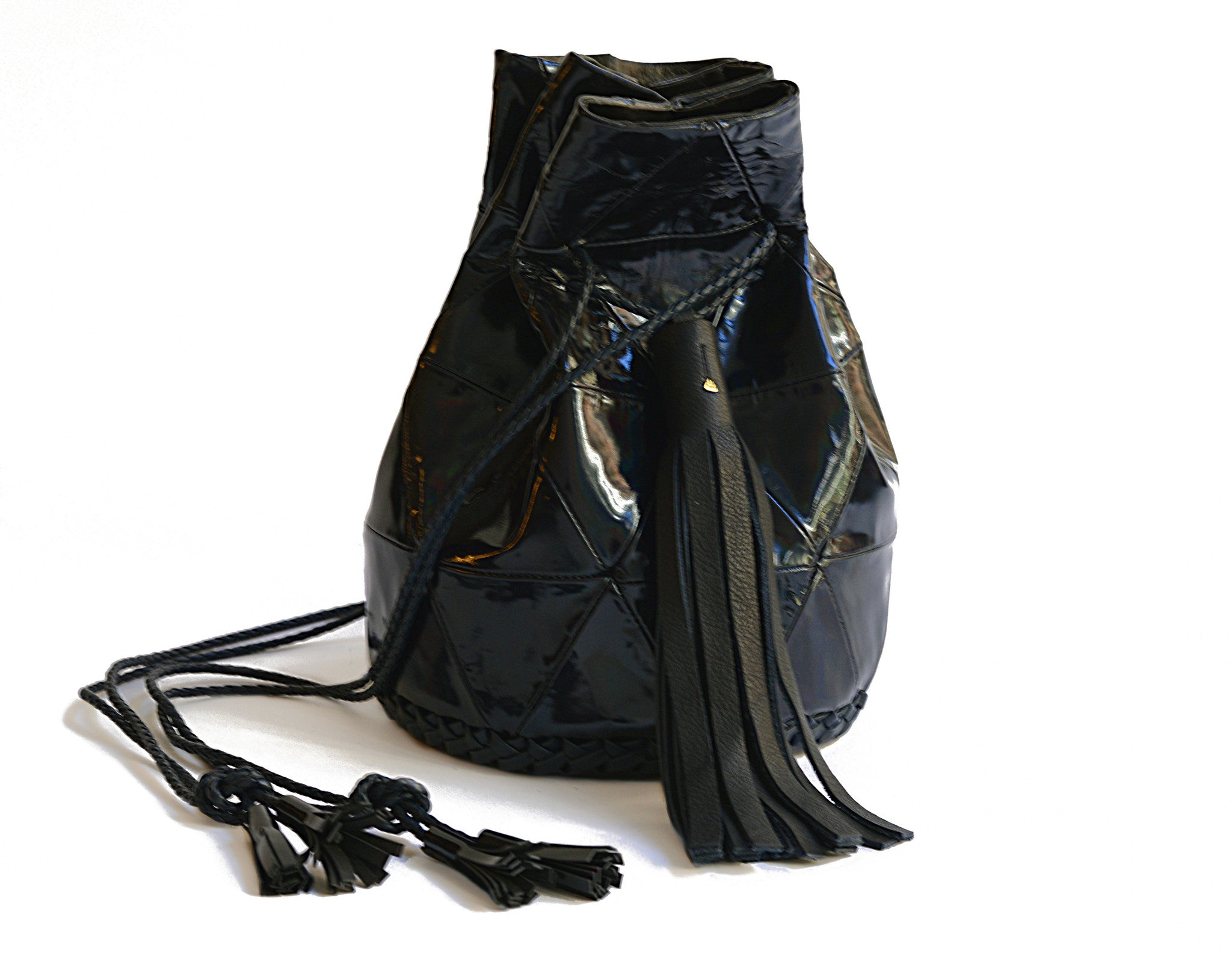 Black Rainbow Mirror Patent Leather Triangle Patchwork Bullet Bag Wendy Nichol Handbag Purse Designer Handmade in NYC Bucket Bag