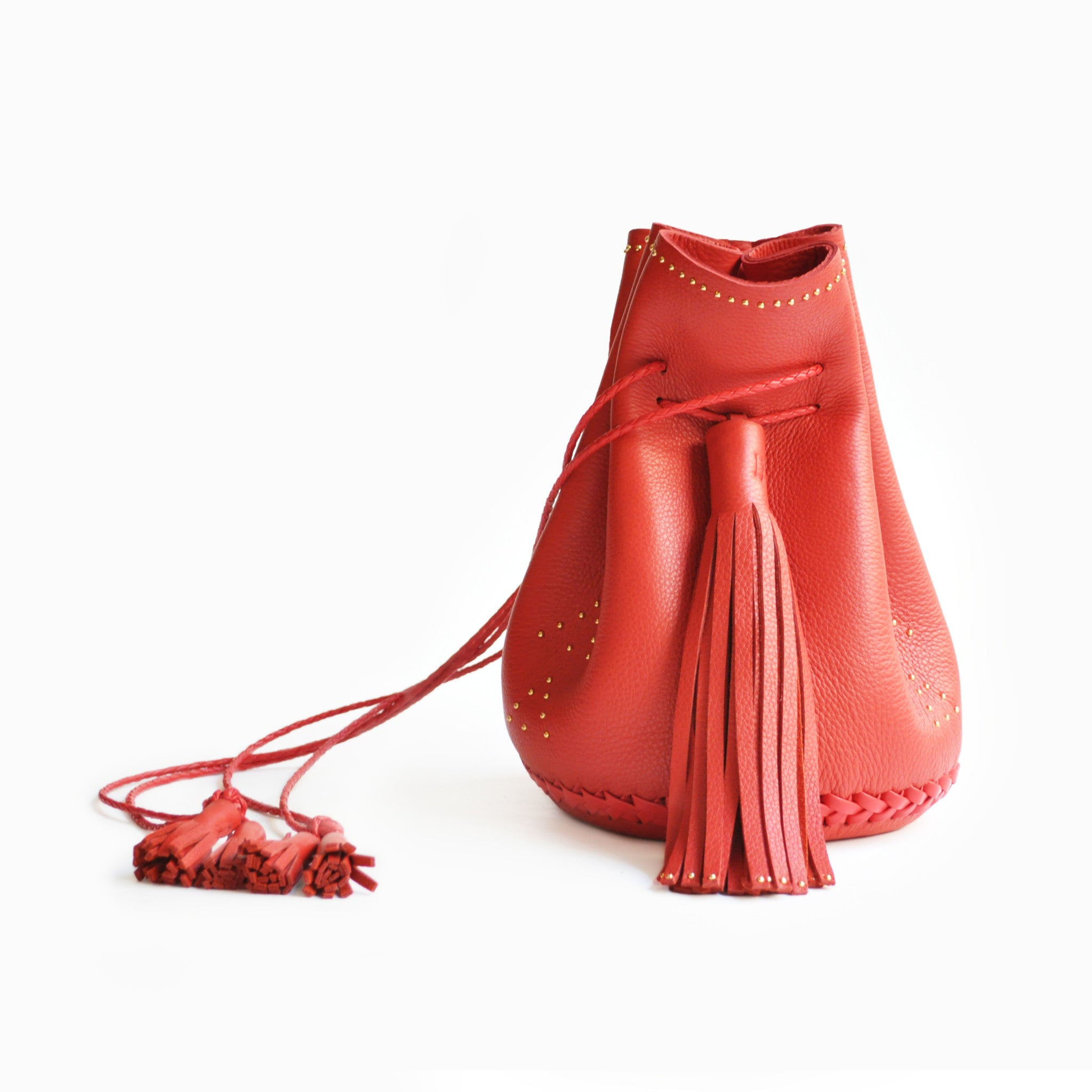 Red Hand Studded Studs Stud Chevron Leather Bullet Bag Wendy Nichol Handbag Purse Designer Handmade in NYC New York City Bucket Bag Drawstring Pouch Large Fringe Tassel