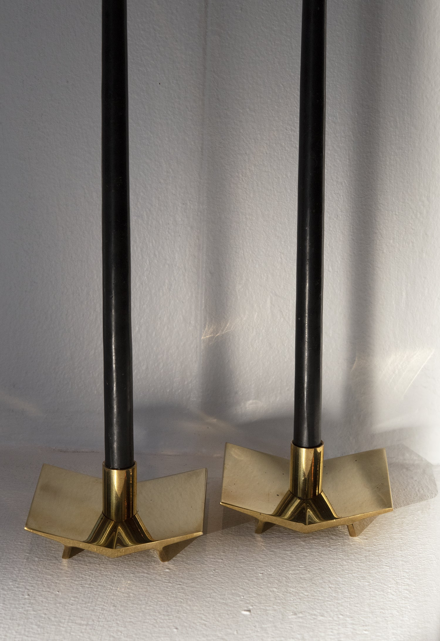 Vintage Brass Geometric Candlestick Holders