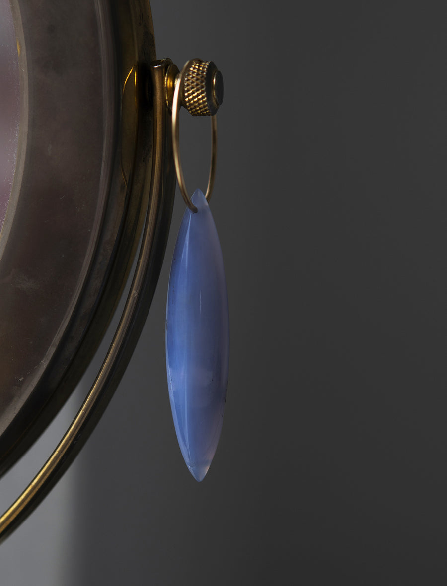 Large Chalcedony Marquis on Hoop Earring