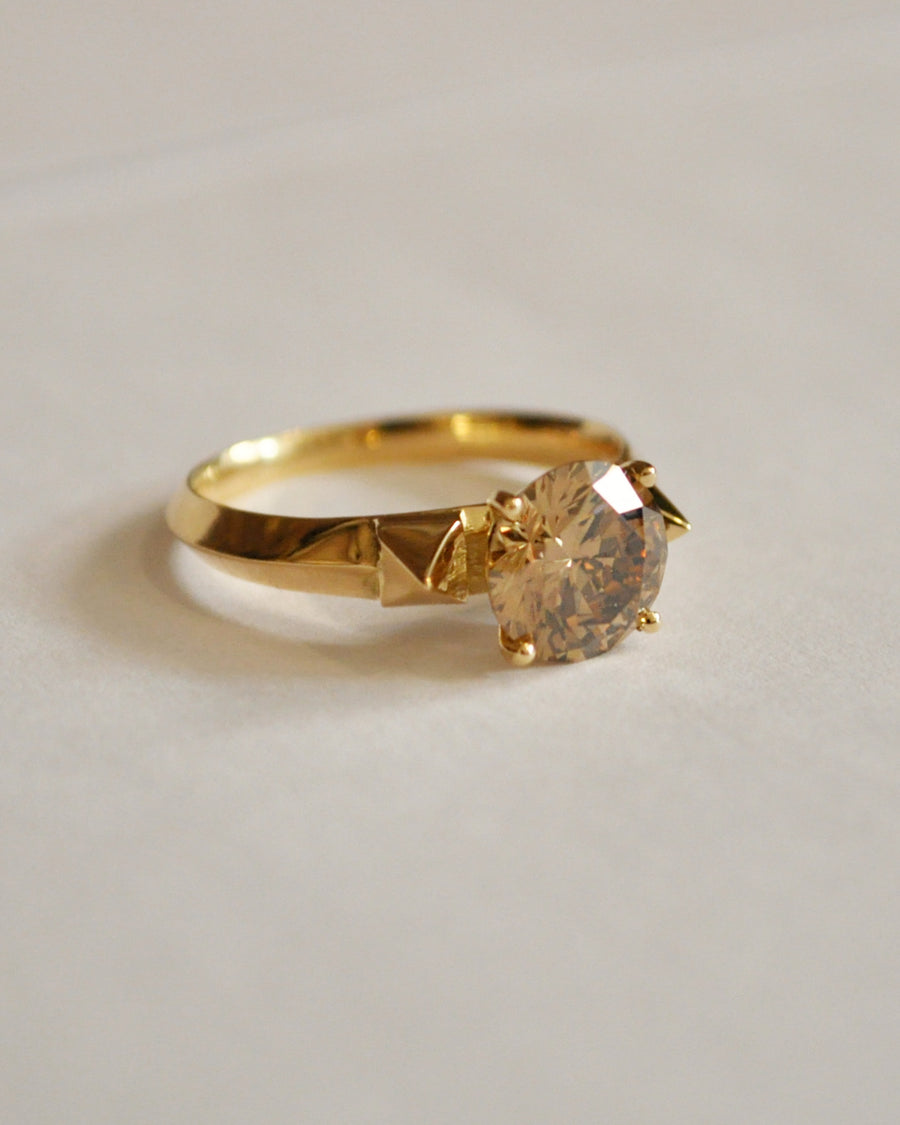 Champagne Diamond and Pyramids Engagement Ring