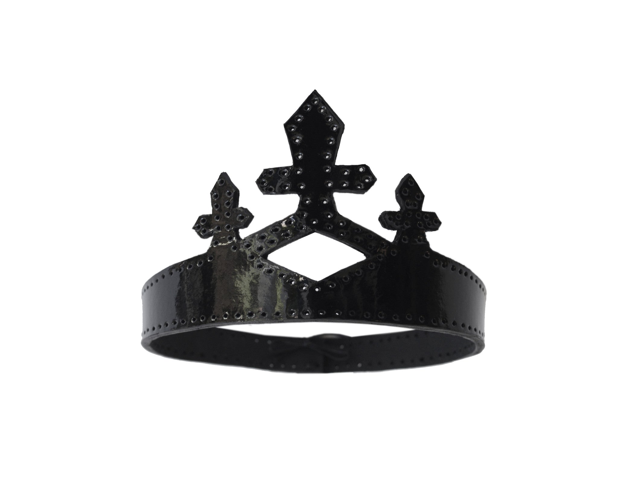 Black Patent Leather Queen Crown Wendy Nichol Designer Handmade in NYC New York City cut out Diamond Crosses Leather Cross Victorian Medieval Crown Headpiece Headdress Headband Tiara Diadem High Priestess Sorceress Wedding Bride Bridal Crown Veil