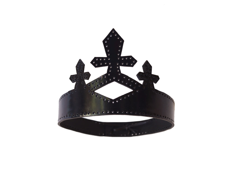 Black Leather Queen Crown Wendy Nichol Designer Handmade in NYC New York City cut out Leather Cross Goth Gothic Victorian Medieval Crown Headpiece Headdress Headband Lindsay Lohan Ali Aliana Lohan Wedding Bride Veil