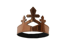 Copper Black Black Patent Leather Queen Crown Wendy Nichol Designer Handmade in NYC New York City cut out Diamond Crosses Leather Cross Victorian Medieval Crown Headpiece Headdress Headband Tiara Diadem High Priestess Sorceress Wedding Bride Bridal Crown Veil