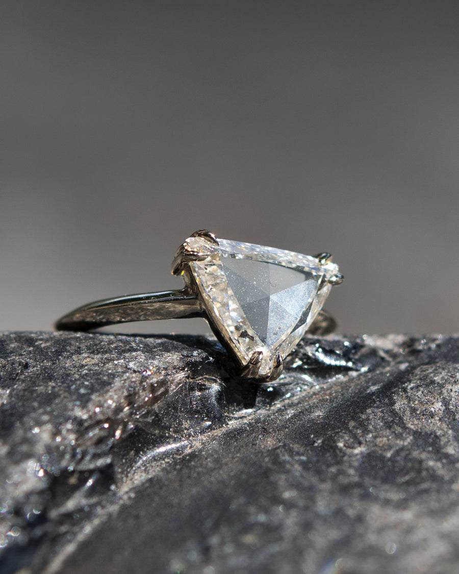 Pyramid Diamond Engagement Ring
