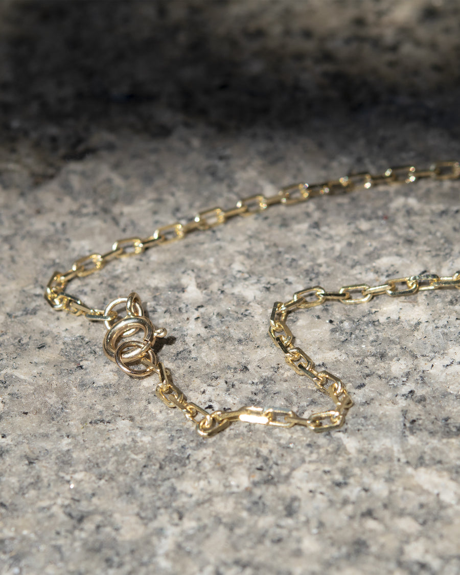 Elongated Diamond Cut Cable Chain 2.6mm 14k Gold Necklace
