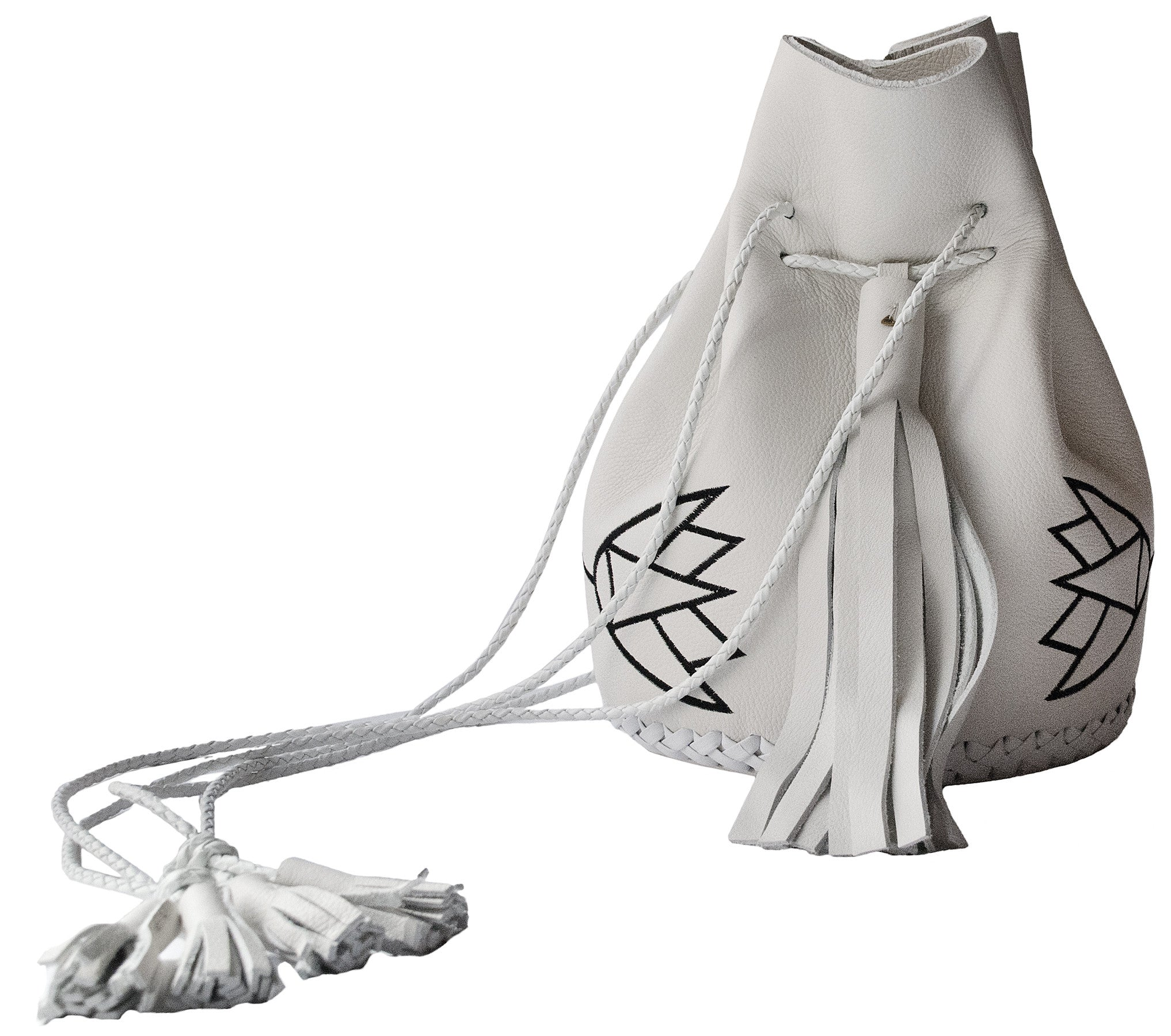 Embroidered Egyptian Lotus Leather Bullet Bag Wendy Nichol Handbag Purse Designer Handmade in NYC Bucket Bag White Black