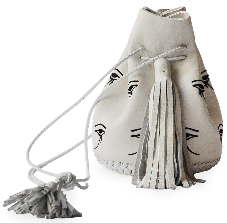 Black White Embroidered Egyptian Eye of Horus Leather Bullet Bucket Bag Wendy Nichol Handbag Purse Designer Handmade in NYC New York City Bucket Bag Barneys Barney's Madonna Desperately Seeking Susan Evil Eye Eyeballs Drawstring Bucket Pouch Purse Handbag Leather Large Fringe Tassel