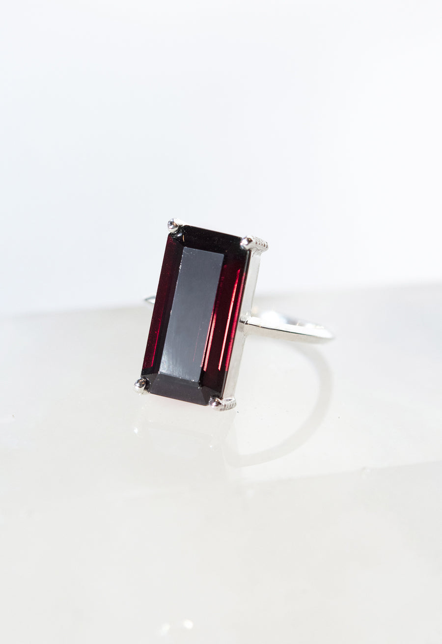 Emerald Cut Dark Garnet Ring