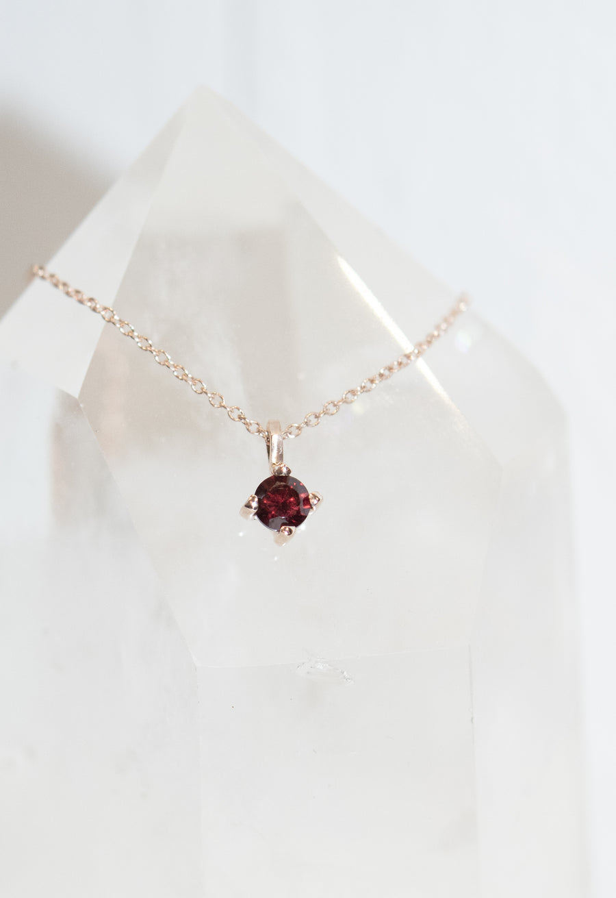 4mm Garnet Pendant Necklace