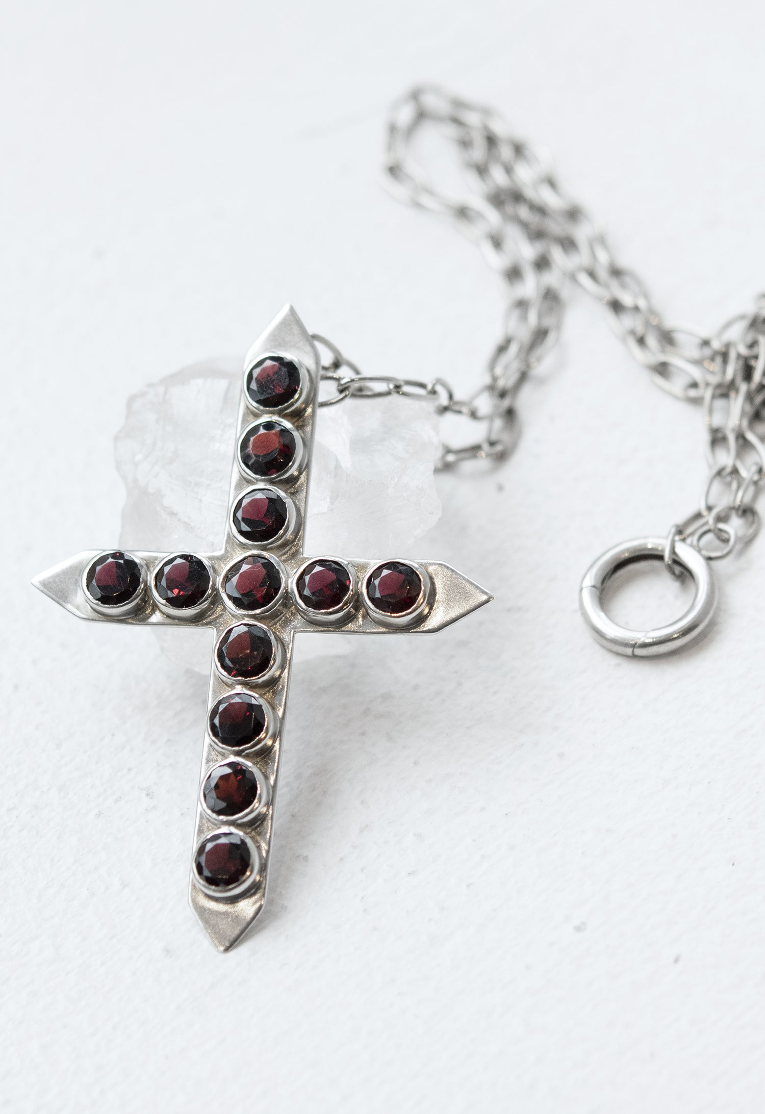 Precious Garnet Studded Cross Pendant Necklace