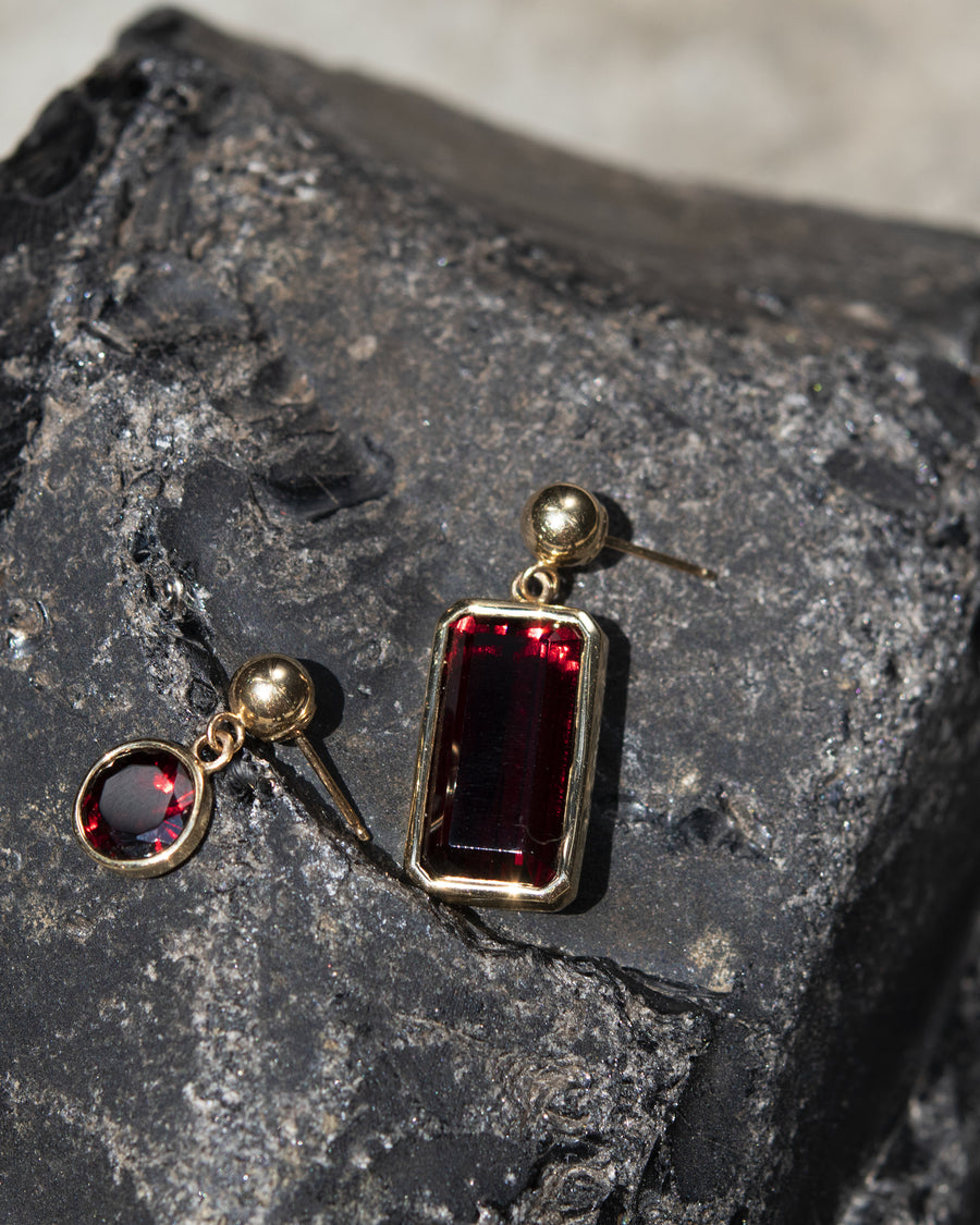 Large Emerald Cut Garnet Dangle Stud