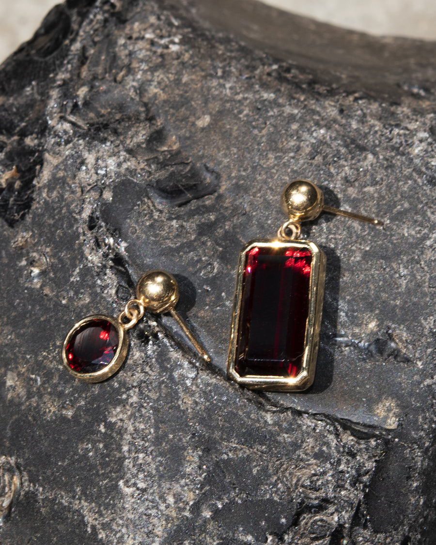 Round Garnet Dangle Stud