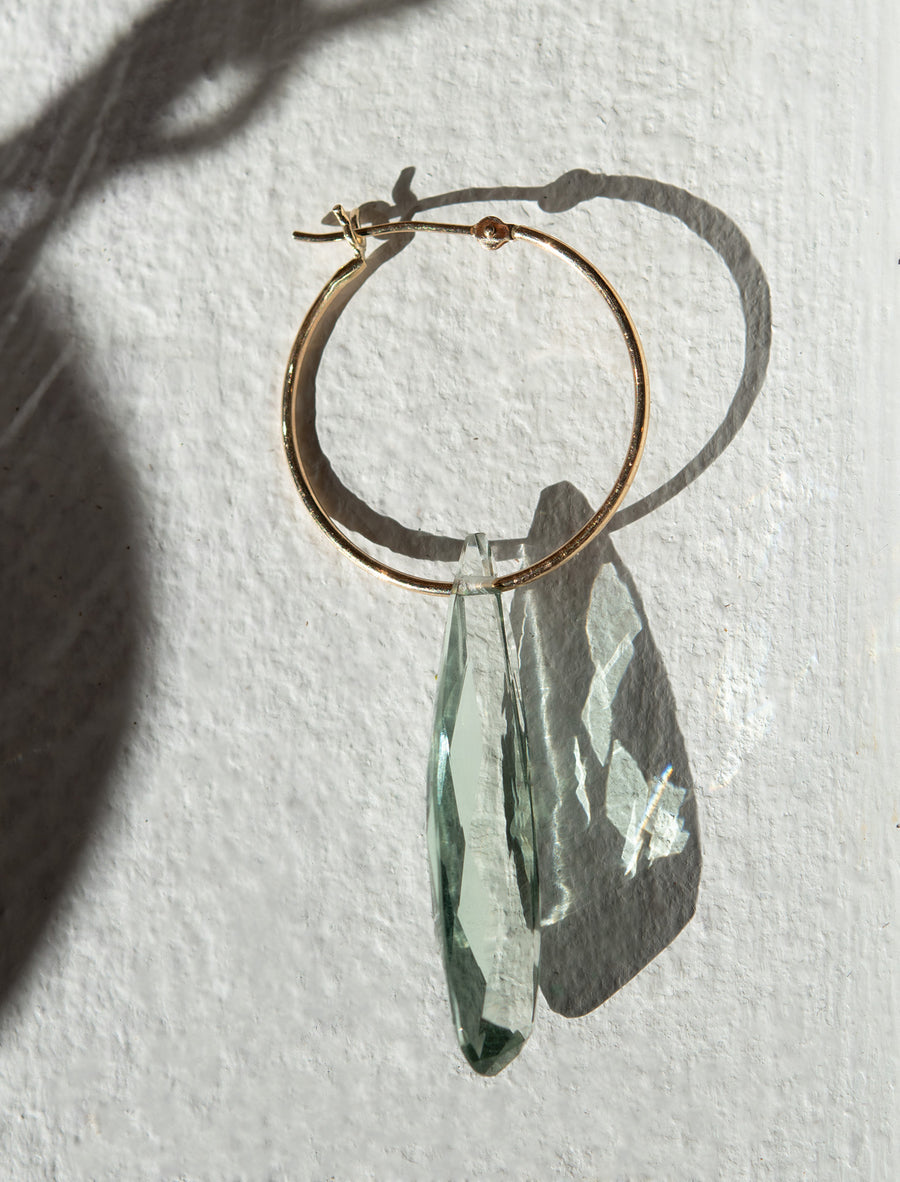 Green Amethyst Faceted Drop on Hoop Earring
