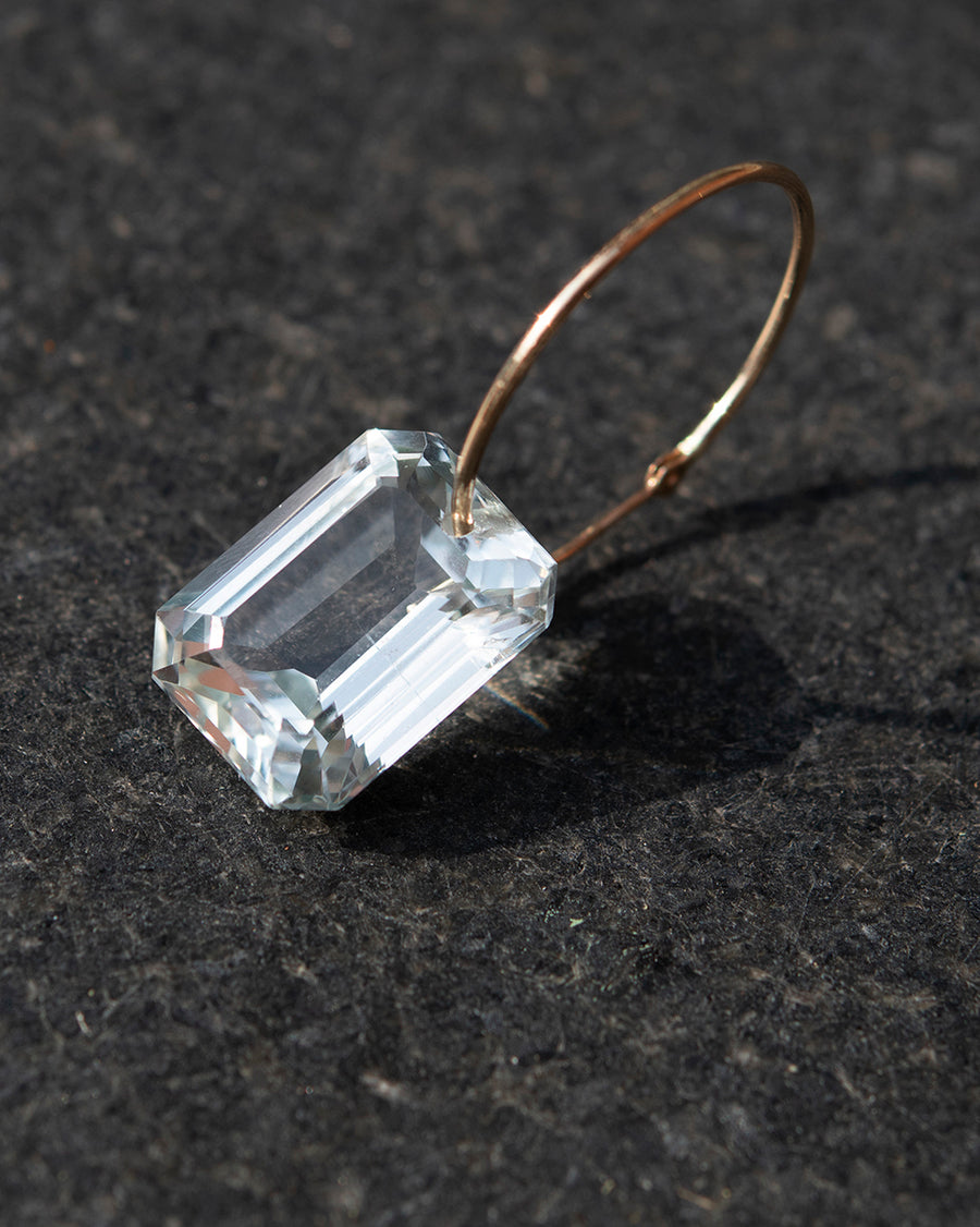 Emerald Cut Ghost Amethyst on Hoop Earring