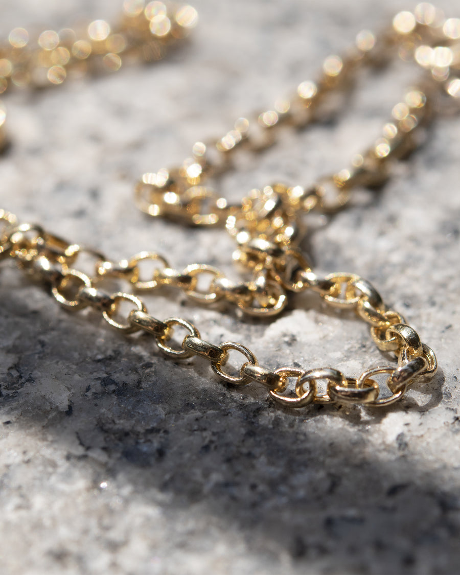 Hollow 3mm Round Link 14k Gold Necklace
