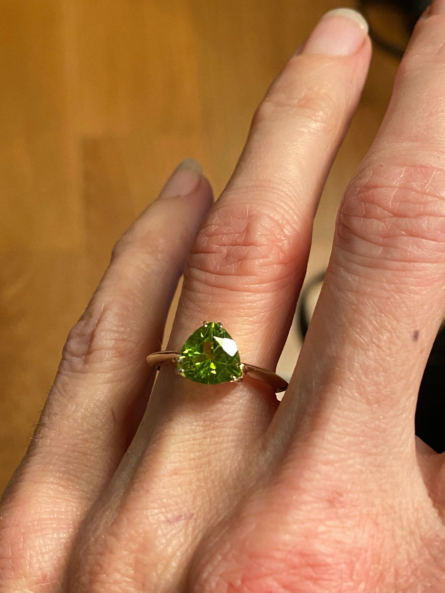 Peridot Trillion Pyramid Ring