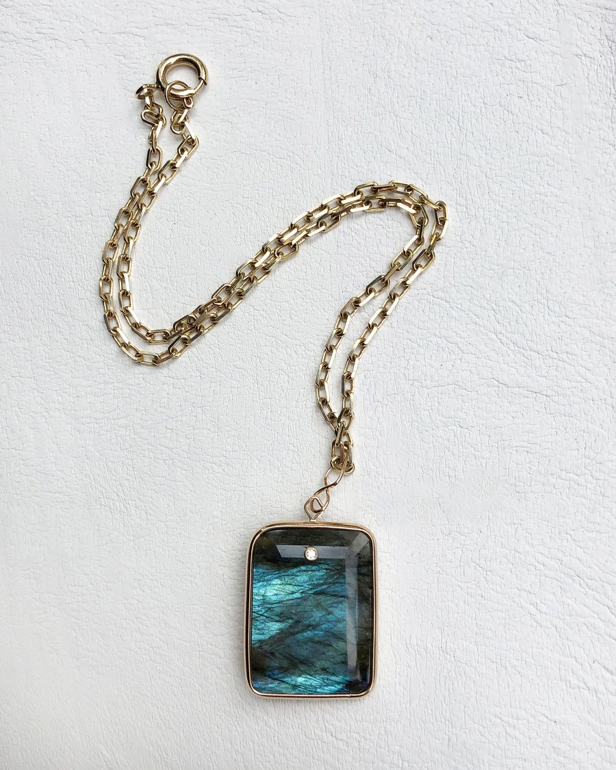 Emerald Cut Labradorite and Diamond Pendant