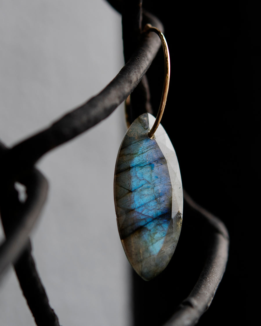 Labradorite Marquis on Hoop Earring