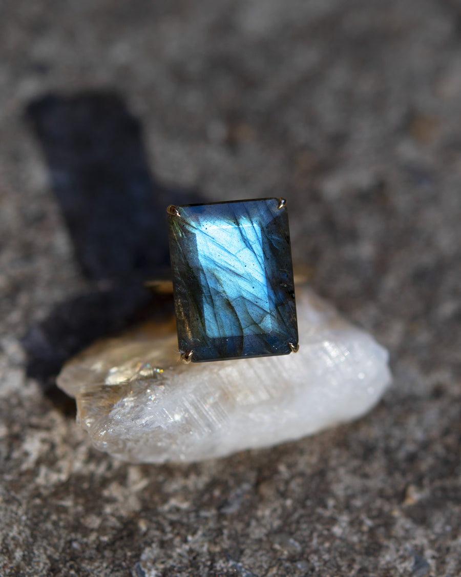 Emerald Cut Labradorite Amulet Ring
