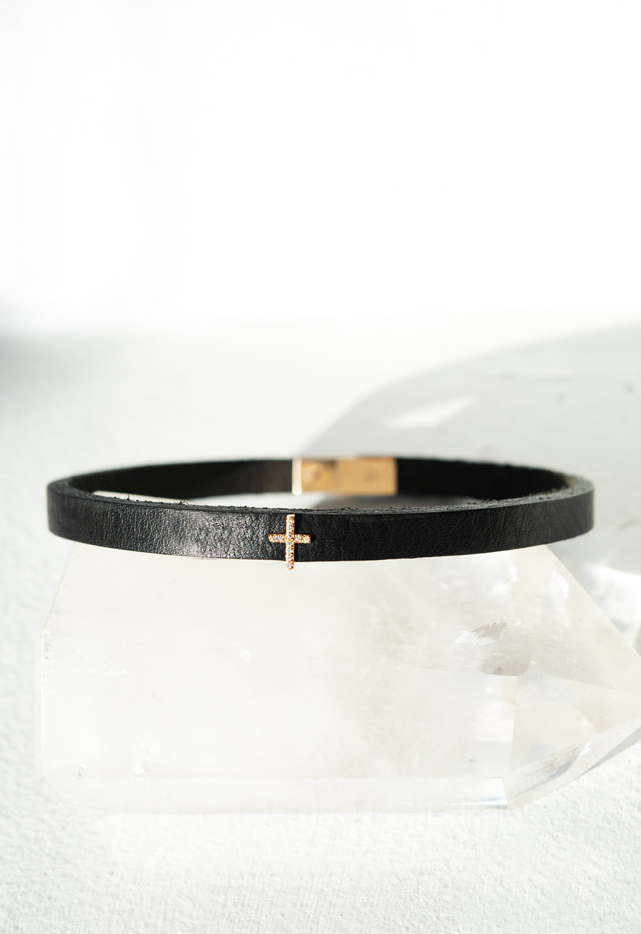 Triangle Leather Choker with Micro Pave Cross Charm