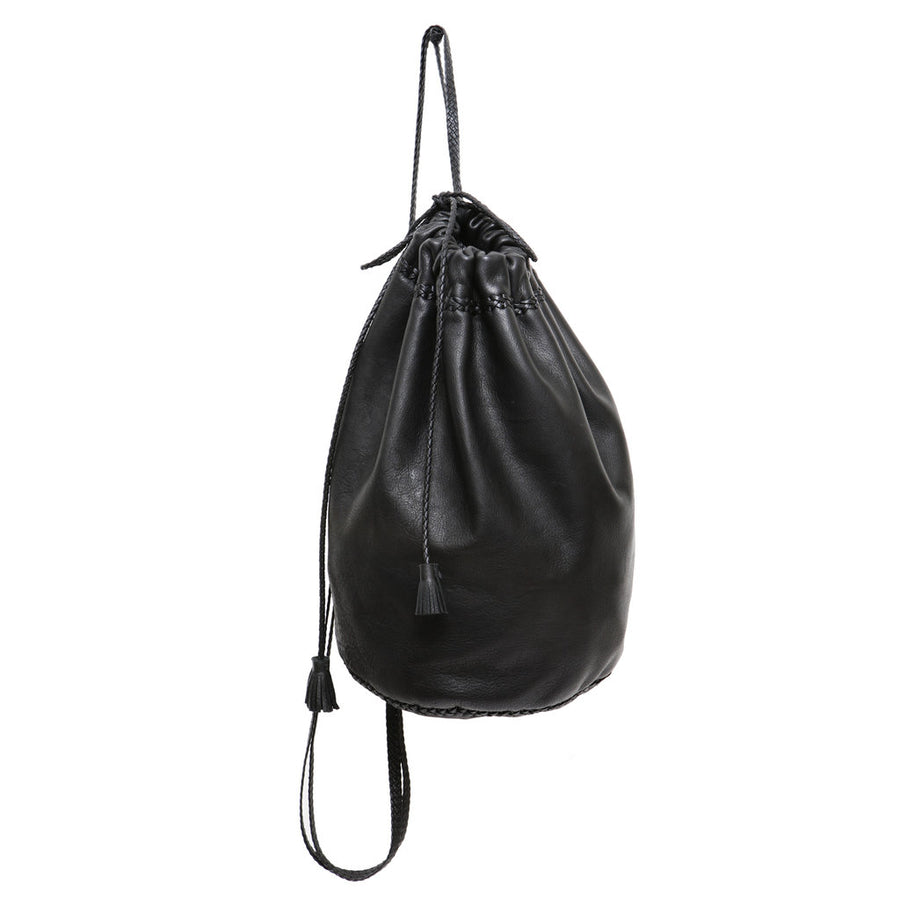 Black Small Braided Knapsack Backpack Wendy Nichol Handbags Handmade in NYC New York City Soft High Quality Leather Sack Simple braided straps Draw string Drawstring Pouch Bucket Gym Travel Dance Bag