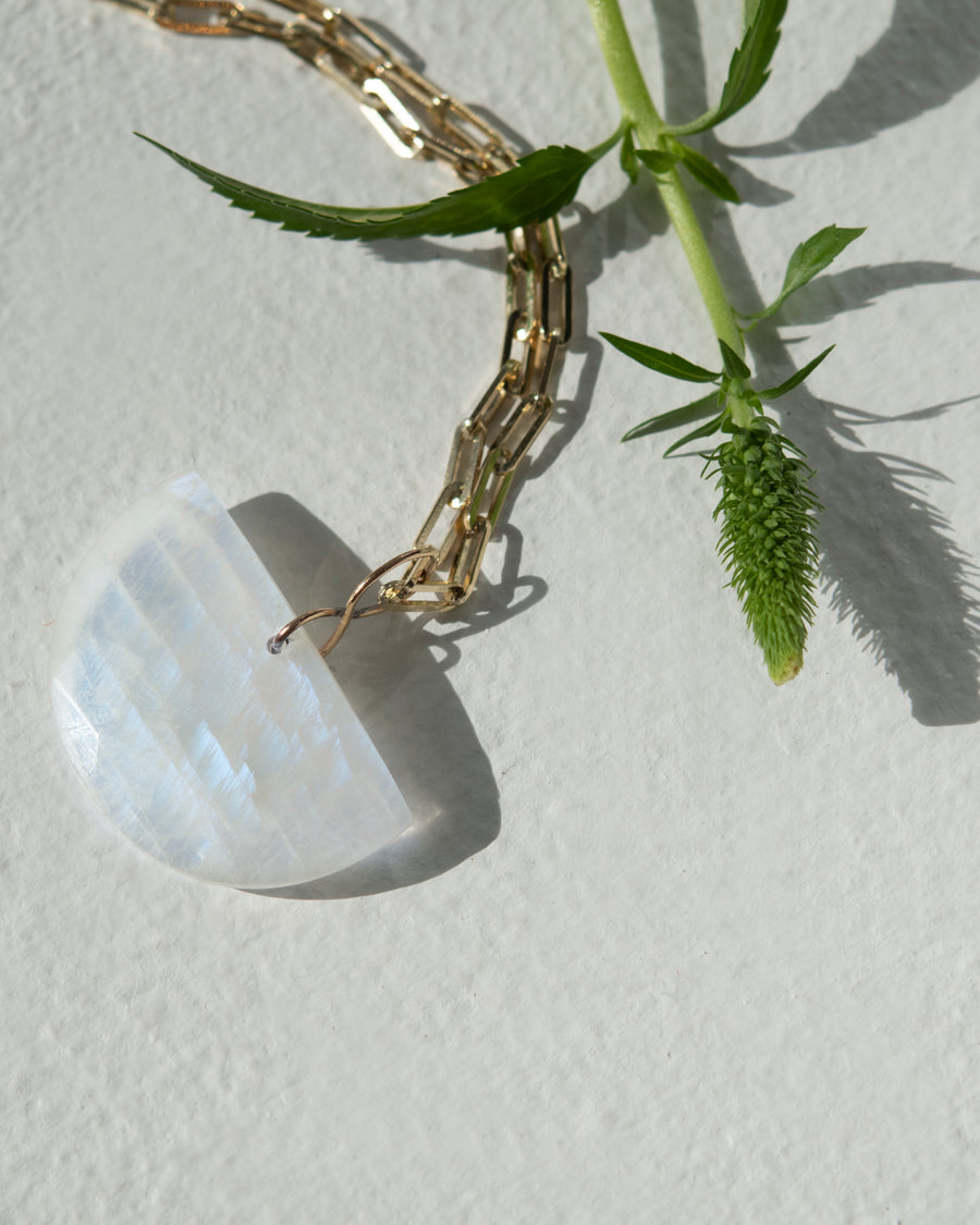 Half Moon Faceted Moonstone Amulet Necklace
